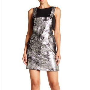Blank NYC vegan leather metallic overall minidress